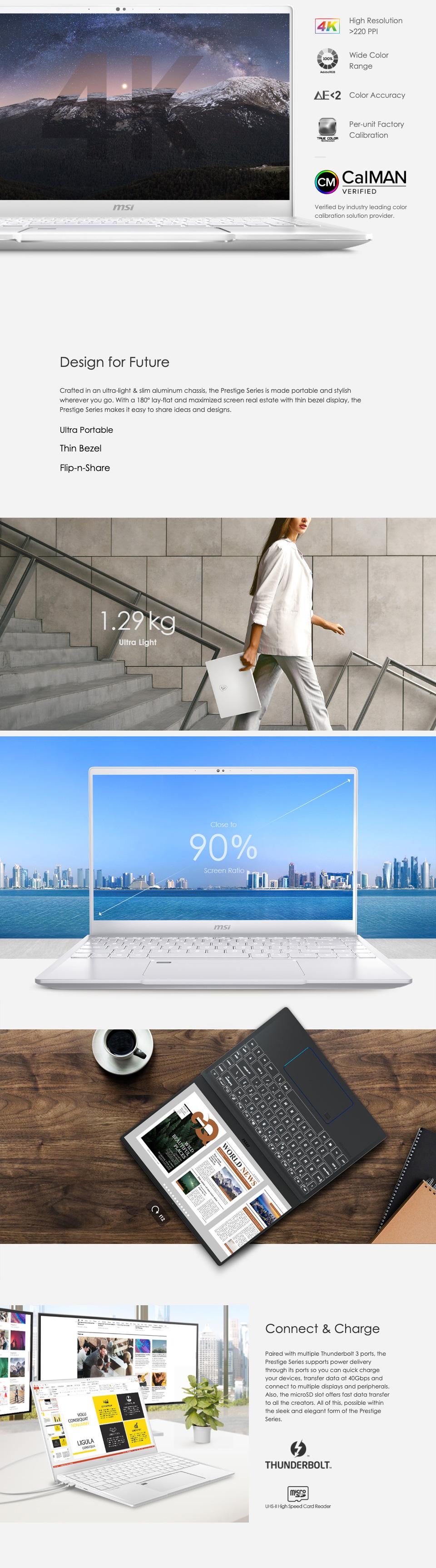 MSI Prestige 15 GTX1650 14in UHD 100% ADOBE RGB Notebook features 3