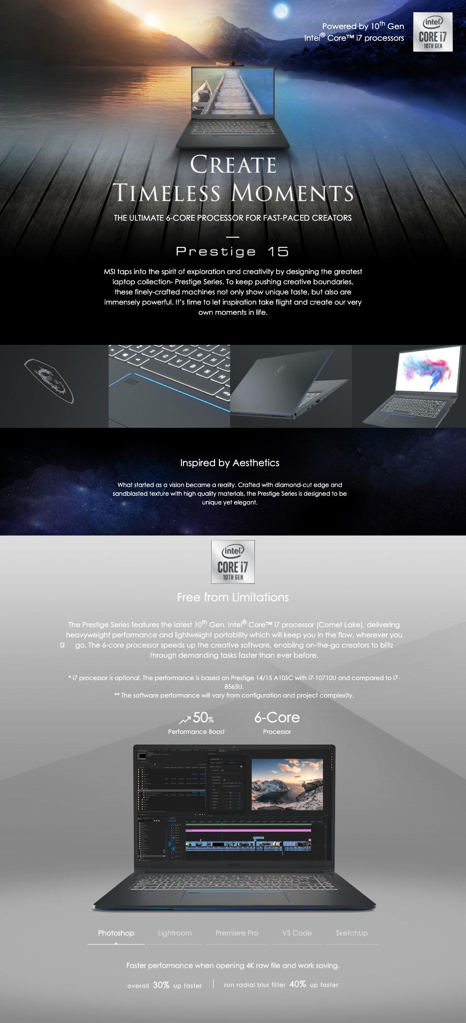 MSI Prestige 15 A10SC GTX1650 15in  UHD 100% ADOBE RGB Notebook features