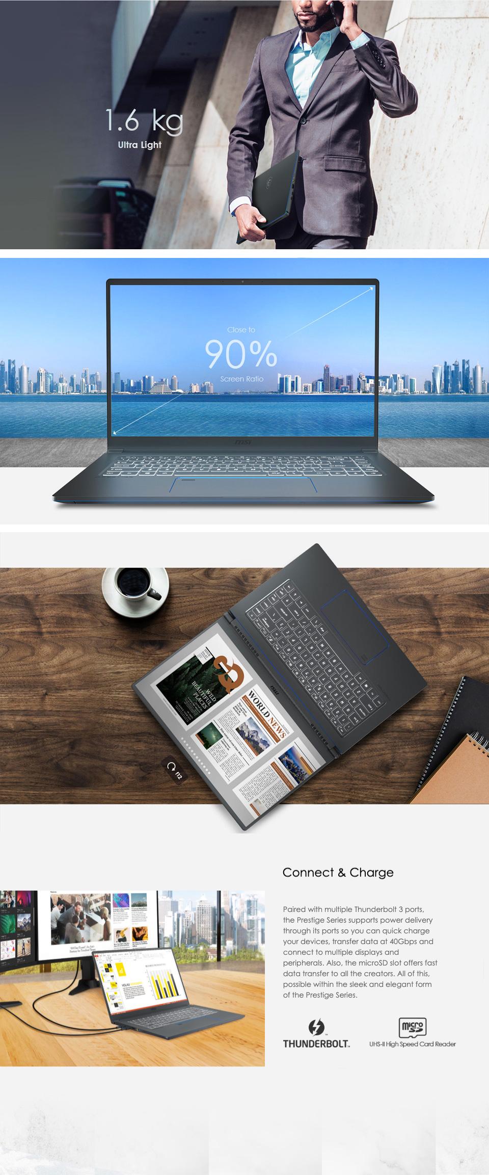 MSI Prestige 15 A10SC GTX1650 15in  UHD 100% ADOBE RGB Notebook features 3