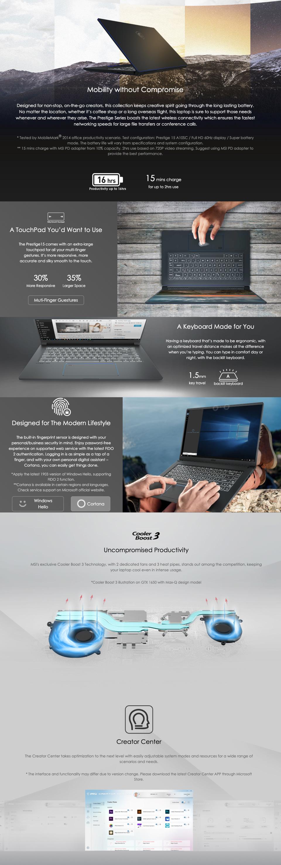 MSI Prestige 15 A10SC GTX1650 15in  UHD 100% ADOBE RGB Notebook features 4