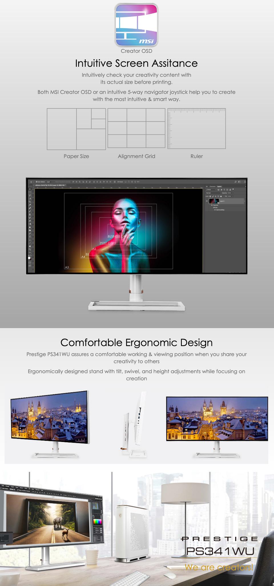 MSI Prestige PS341WU WUHD IPS 34in Monitor features 4
