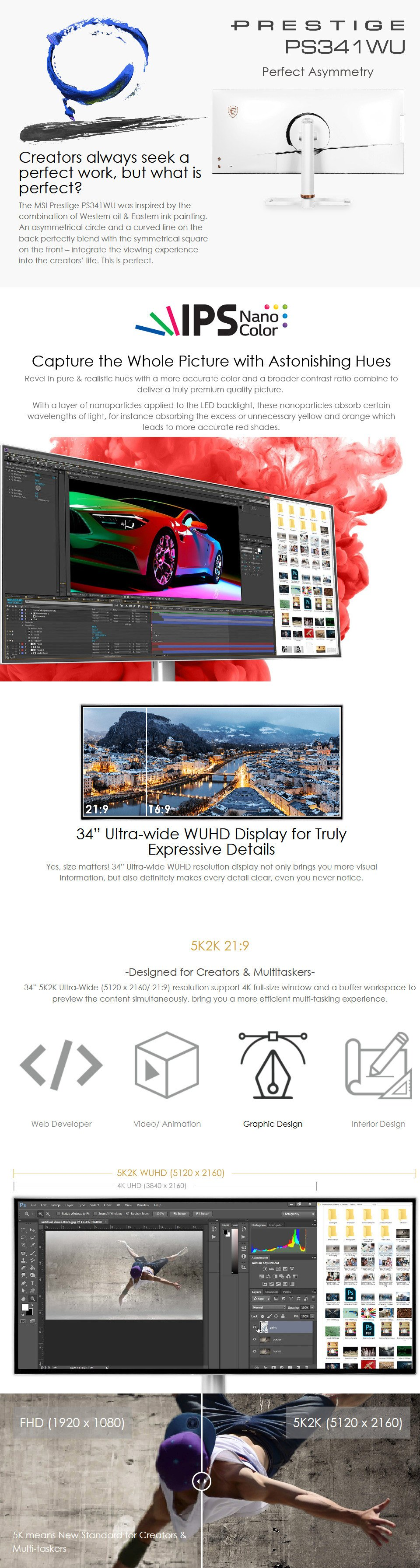 MSI Prestige PS341WU WUHD IPS 34in Monitor features