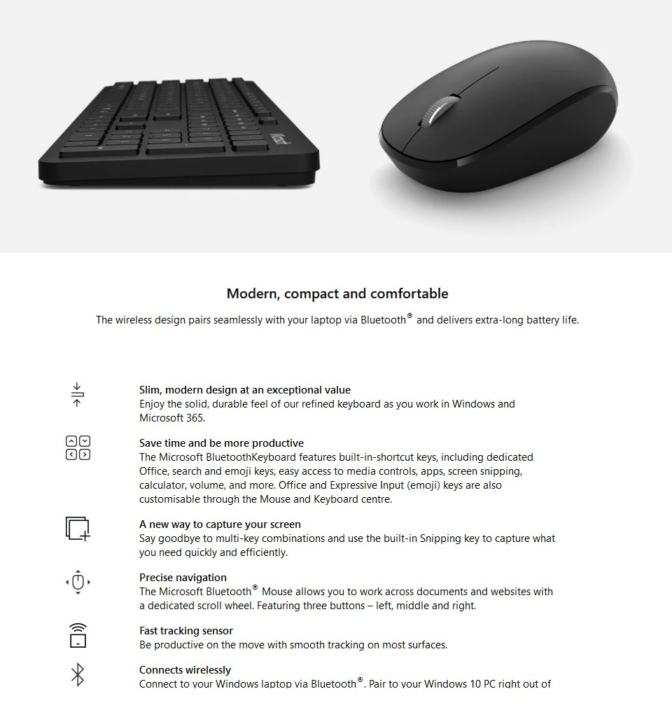 Microsoft Bluetooth Keyboard Mouse Combo features