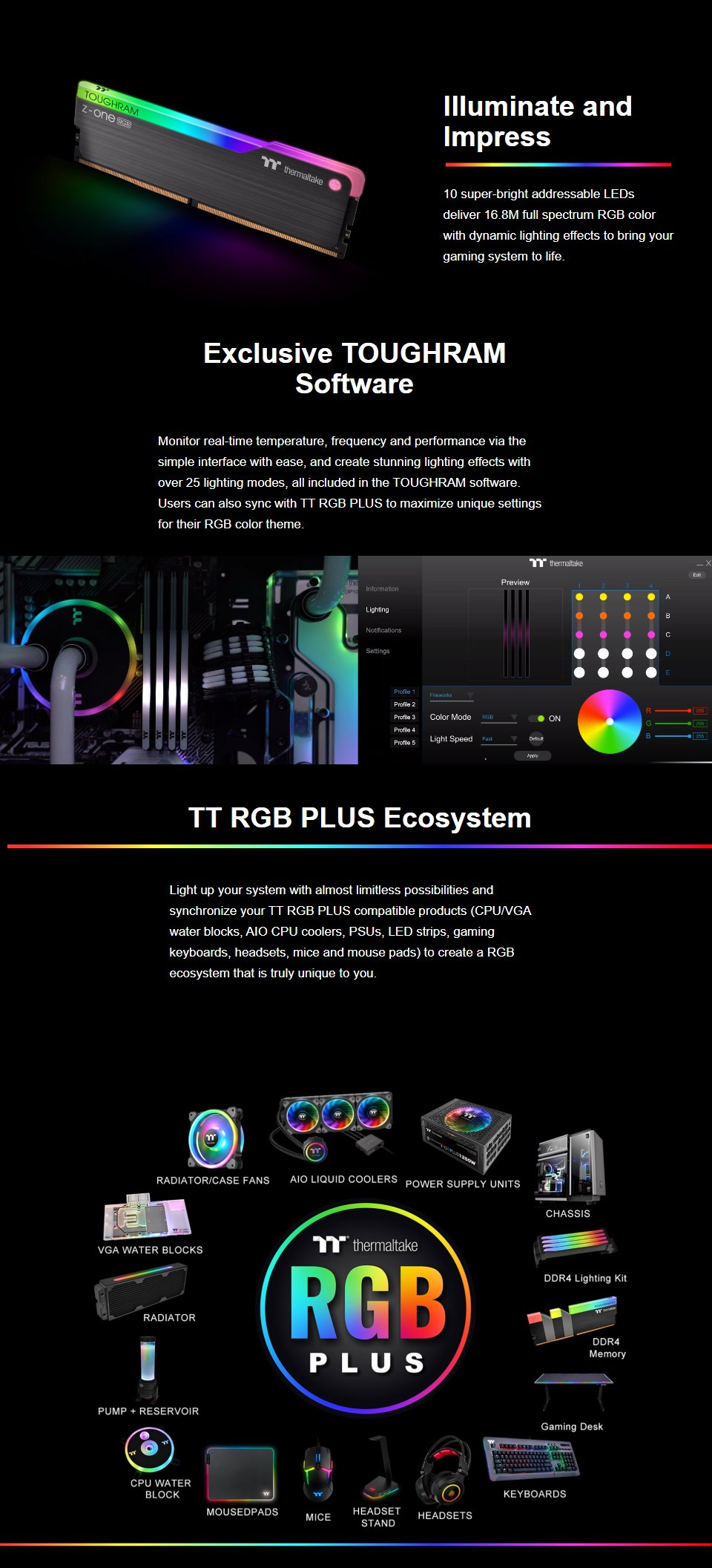 Thermaltake ToughRAM Z-ONE RGB 16GB (2x8GB) 3200MHz CL16 DDR4 features 2
