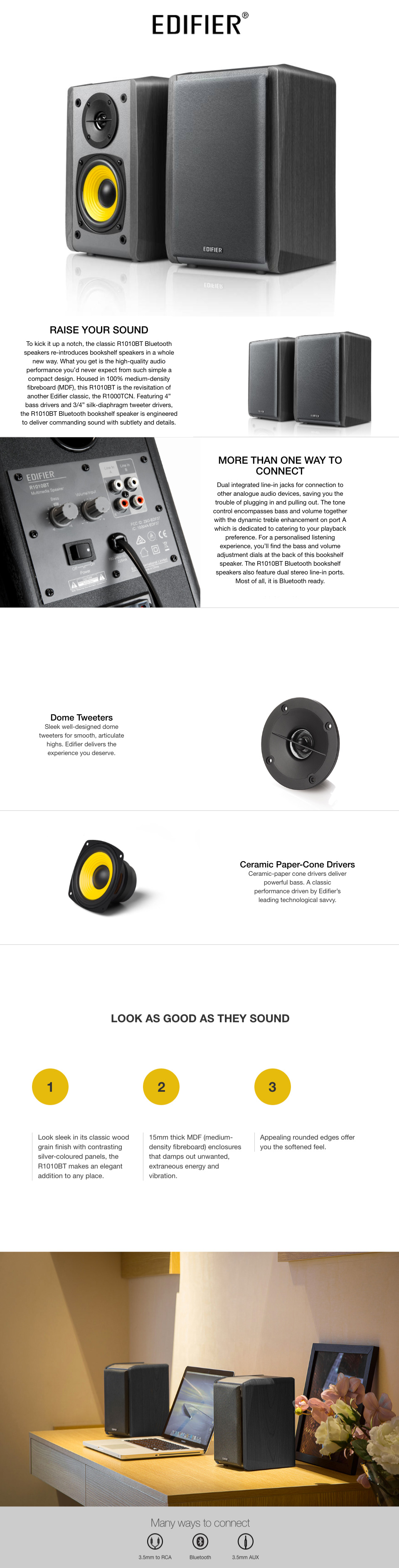 Edifier R1010BT 2.0 Bluetooth Bookshelf Speakers Brown features