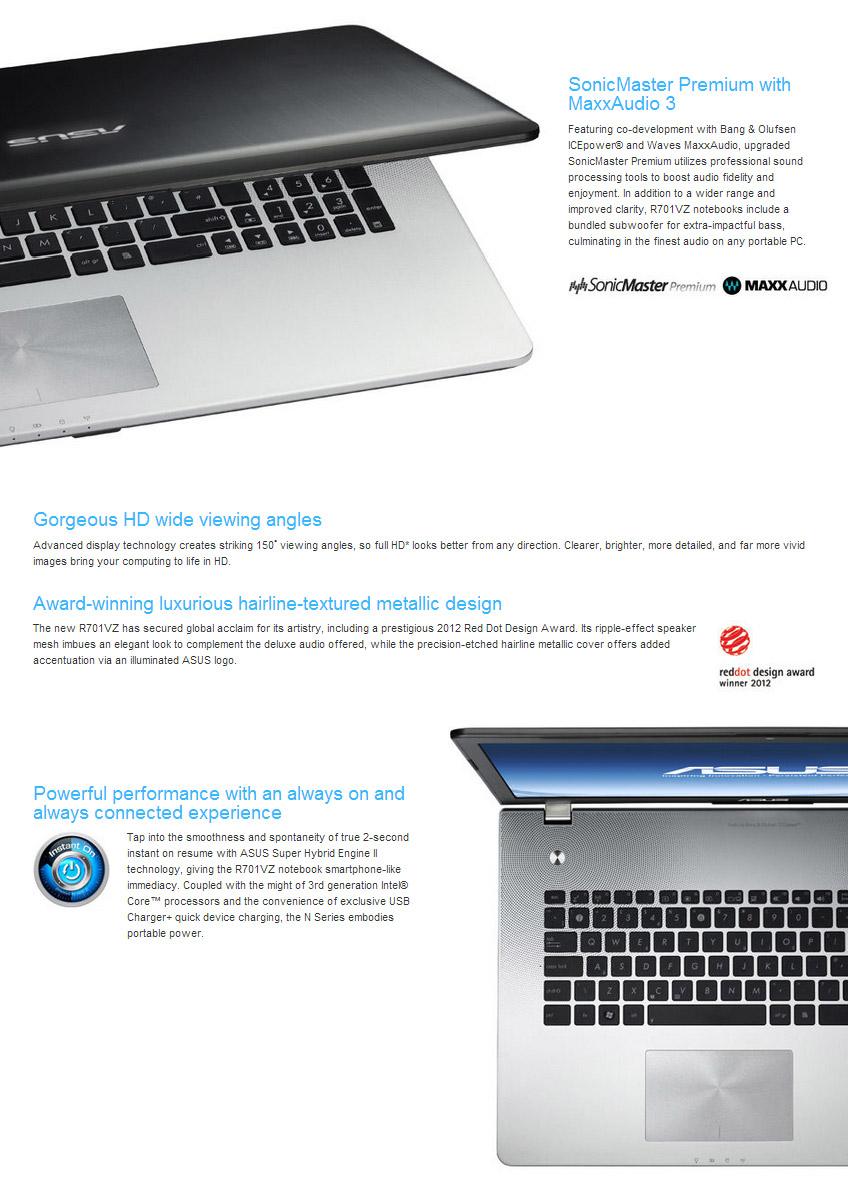 ASUS R701VZ-V4G-T1155H 17 3in Notebook [R701VZ-V4G-T1155H] : PC Case