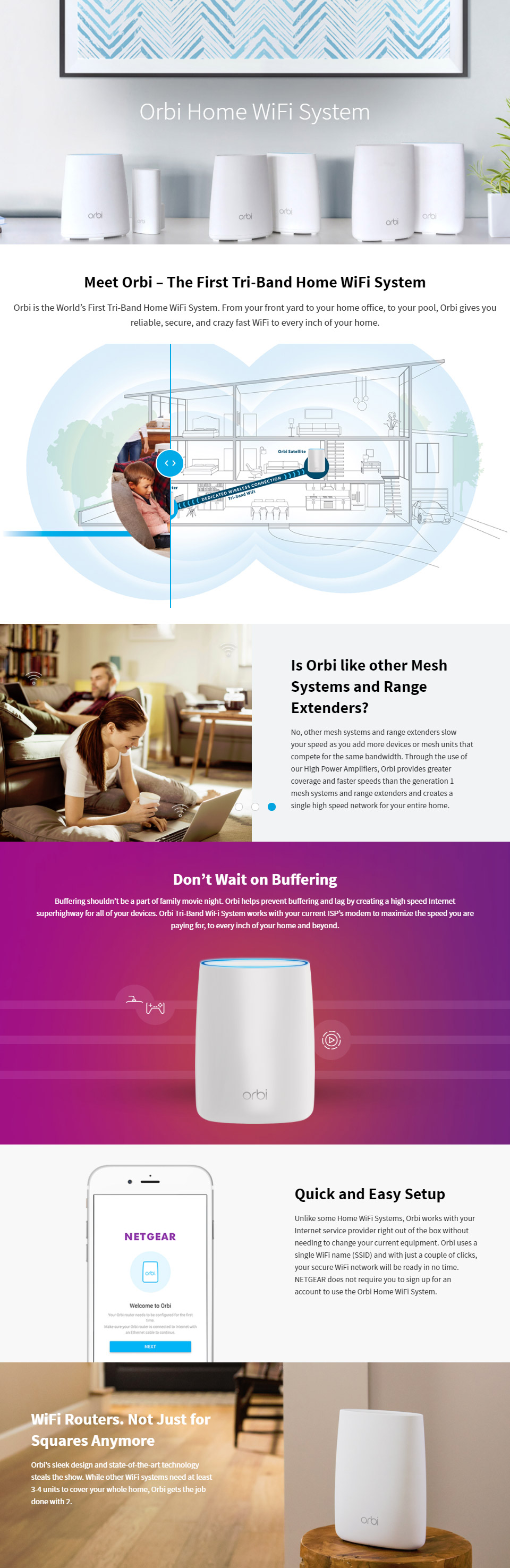 Netgear Orbi RBK40 AC2200 Whole Home Tri-Band WiFi System