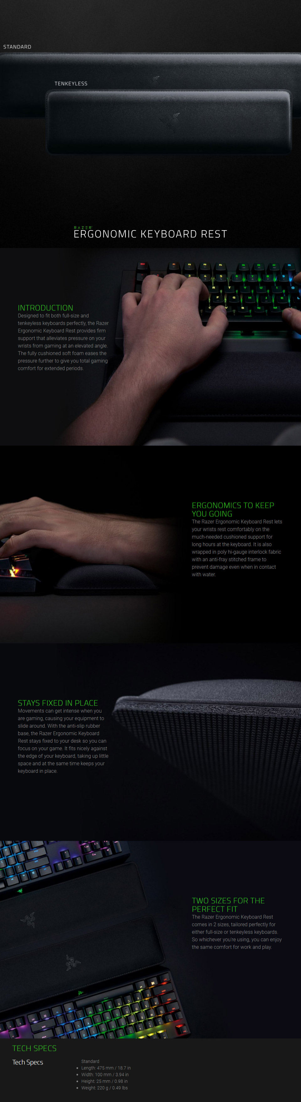 aba6a7824be ... the Razer Ergonomic Keyboard Rest provides firm support that alleviates  pressure on your wrists from gaming at an elevated angle.
