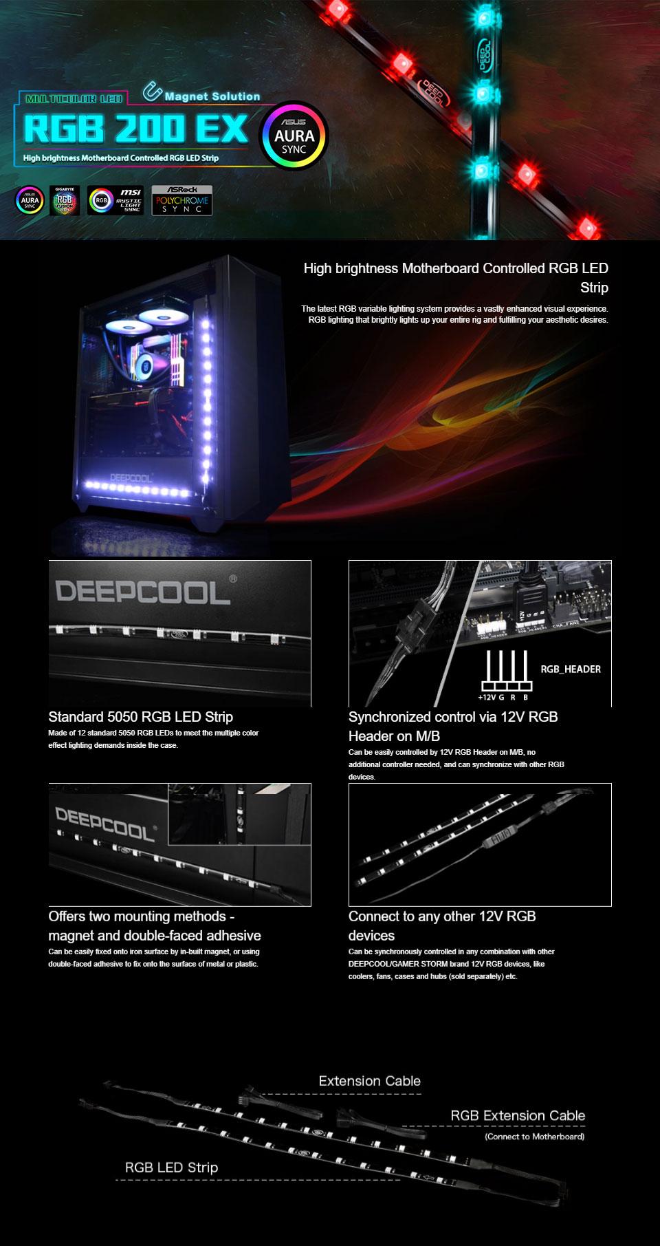 Deepcool RGB 200 EX RGB LED Strip [RGB-200-EX] : PC Case Gear