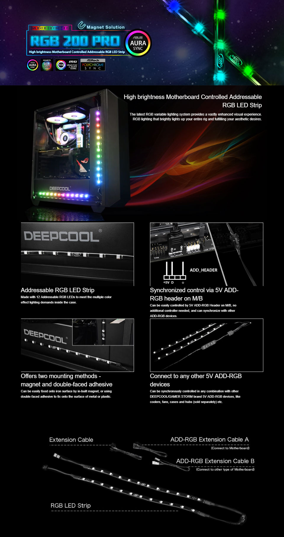 Deepcool RGB 200 Pro Addressable RGB LED Strip