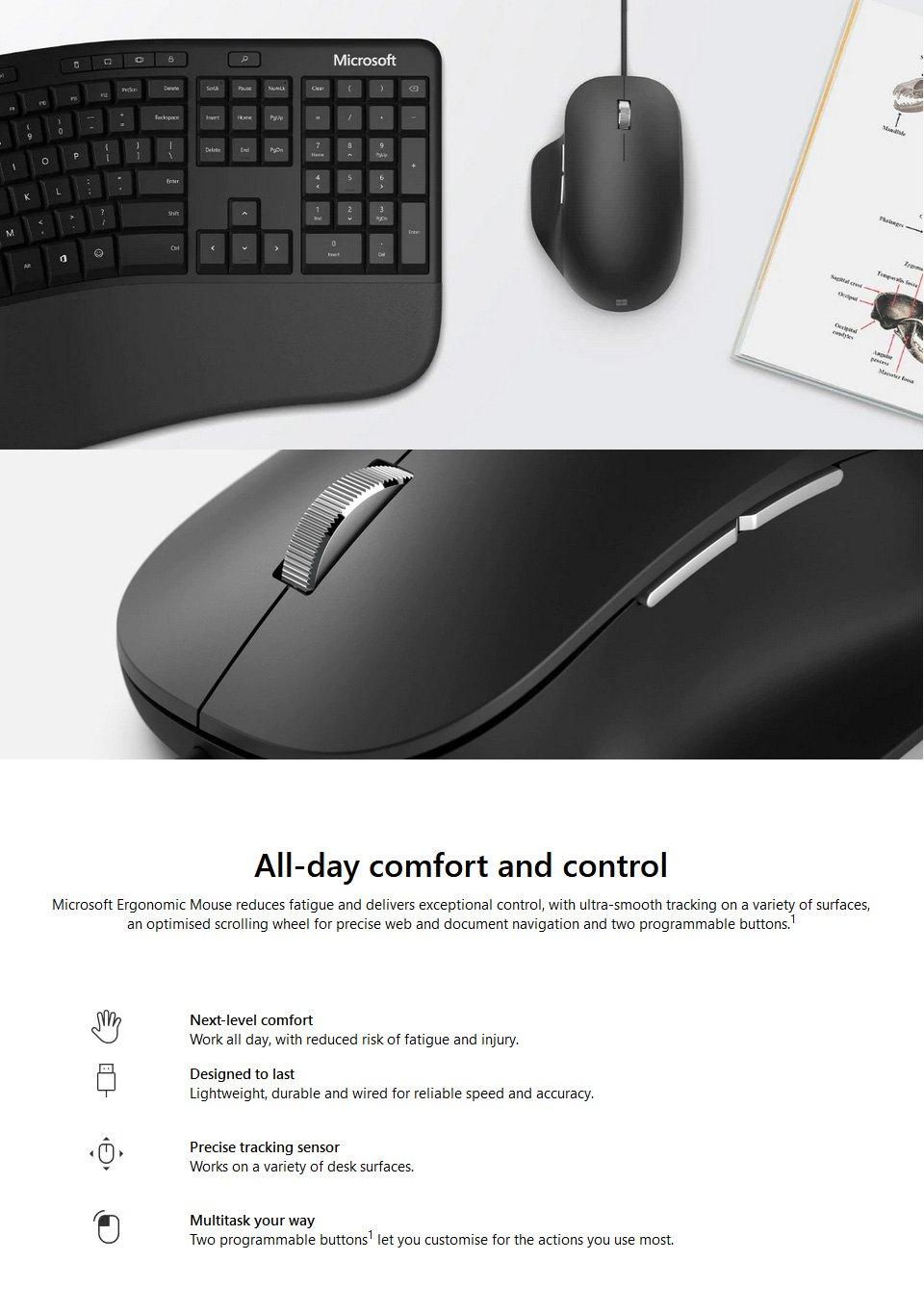 Microsoft Ergonomic USB Mouse features