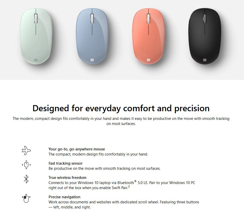 Microsoft Bluetooth Mouse Black features