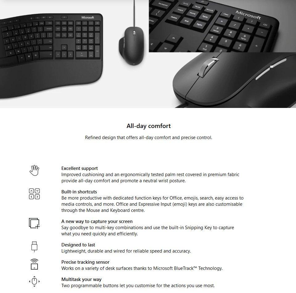 Microsoft Ergonomic Keyboard Mouse Combo features