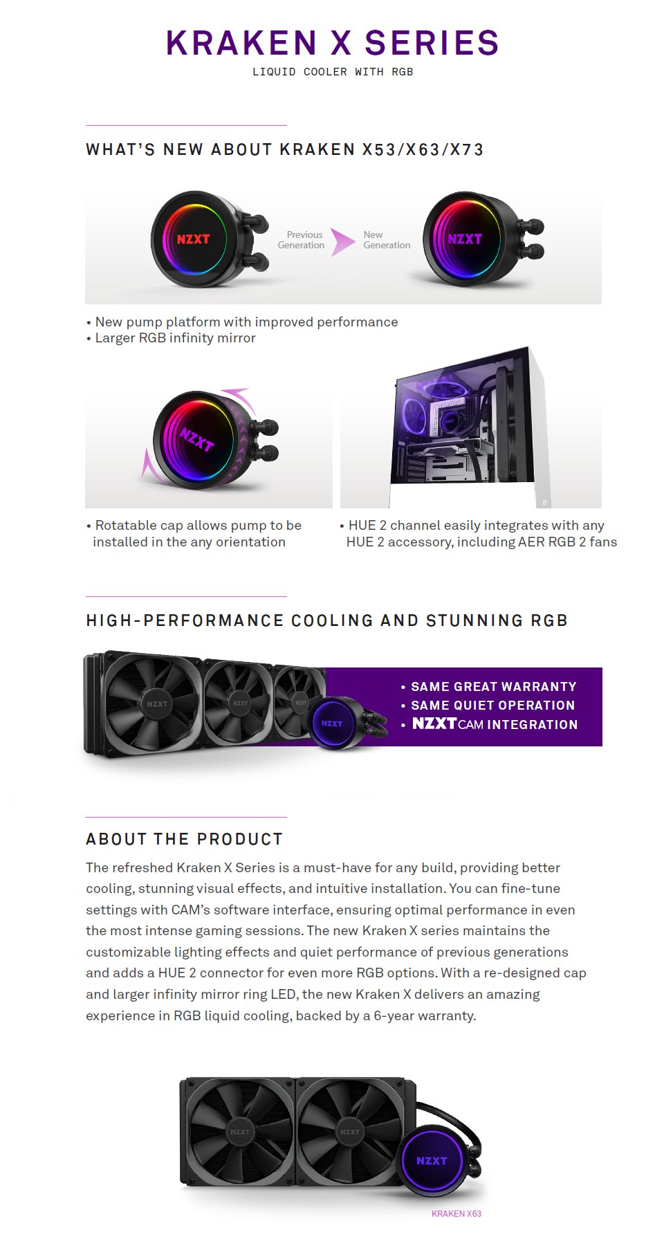 NZXT Kraken X63 280mm AIO Liquid CPU Cooler features