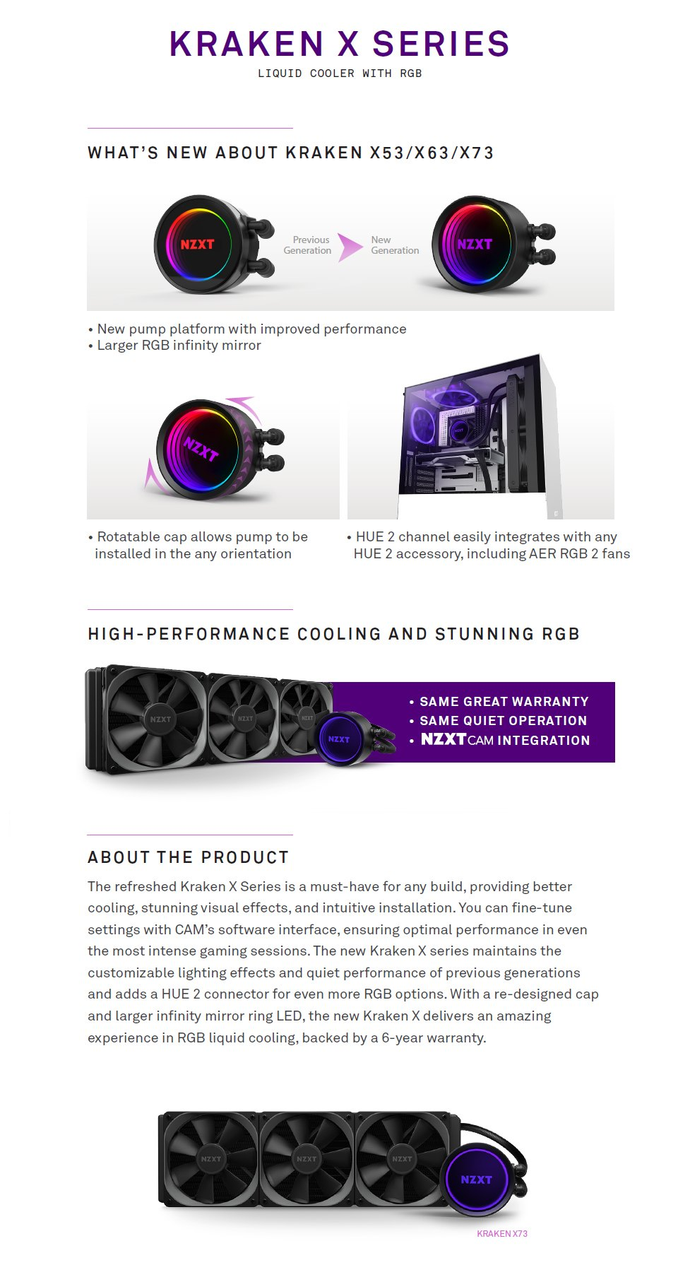 NZXT Kraken X73 360mm AIO Liquid CPU Cooler features