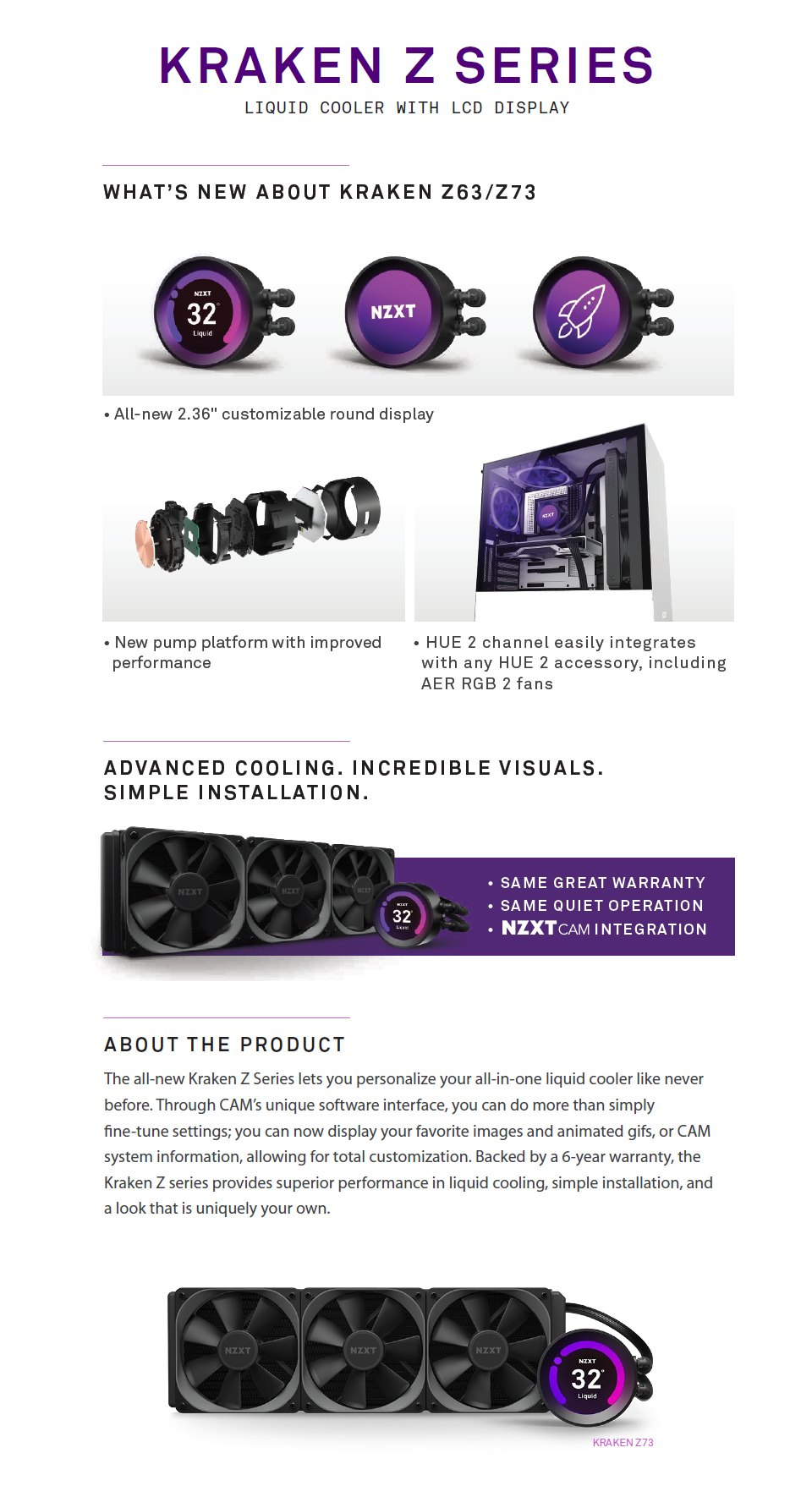 NZXT Kraken Z73 360mm AIO Liquid CPU Cooler features