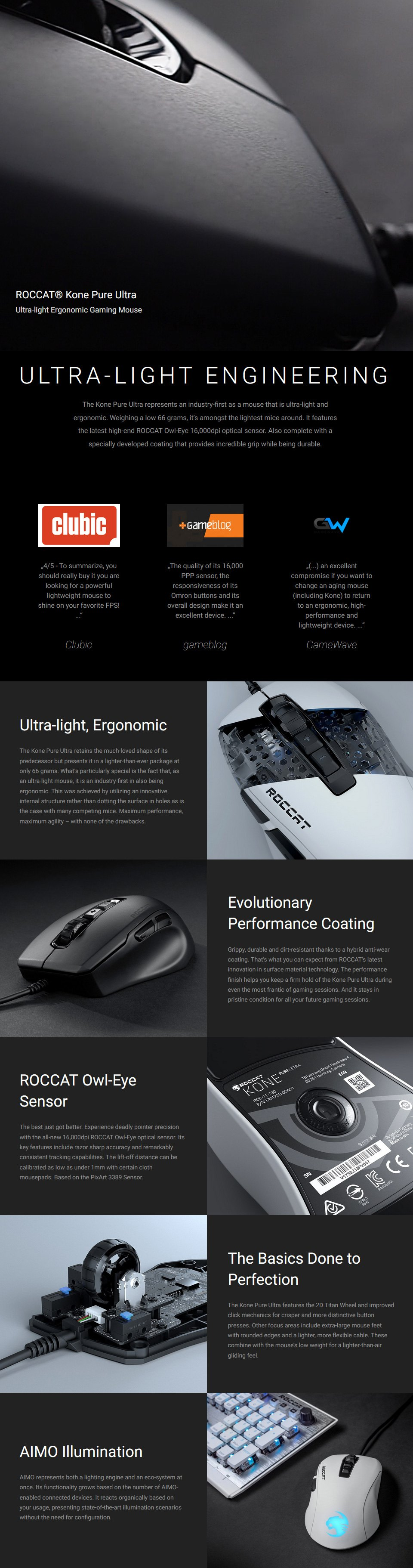 Roccat Kone Pure Ultra Gaming Mouse White features