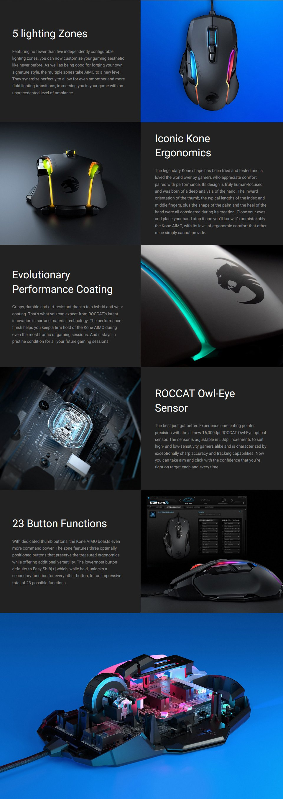 Roccat Kone AIMO Remastered Gaming Mouse Black features 2