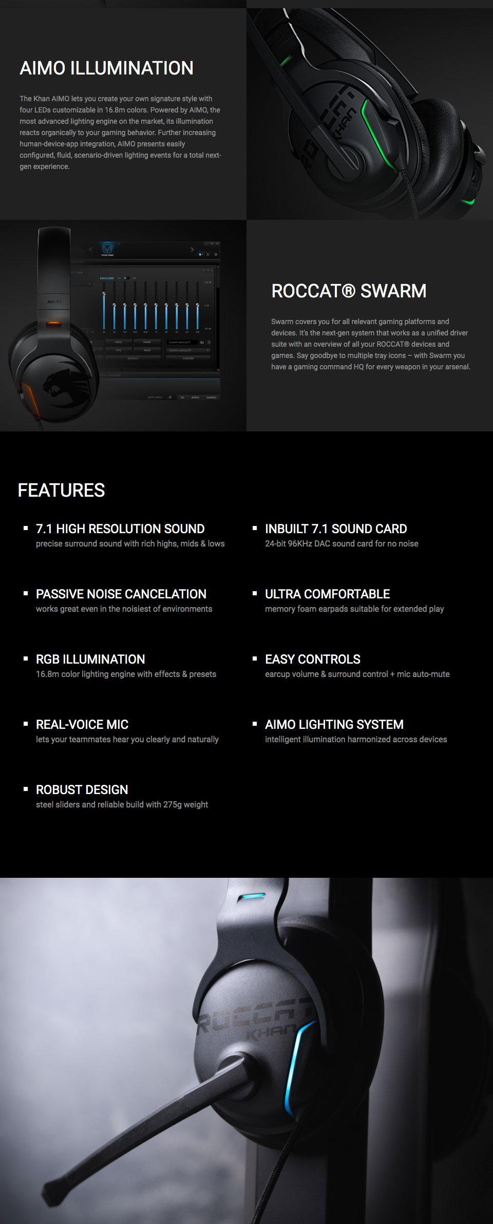 Buy Roccat Khan Aimo 7.1 RGB Gaming Headset White [ROC-14 ...
