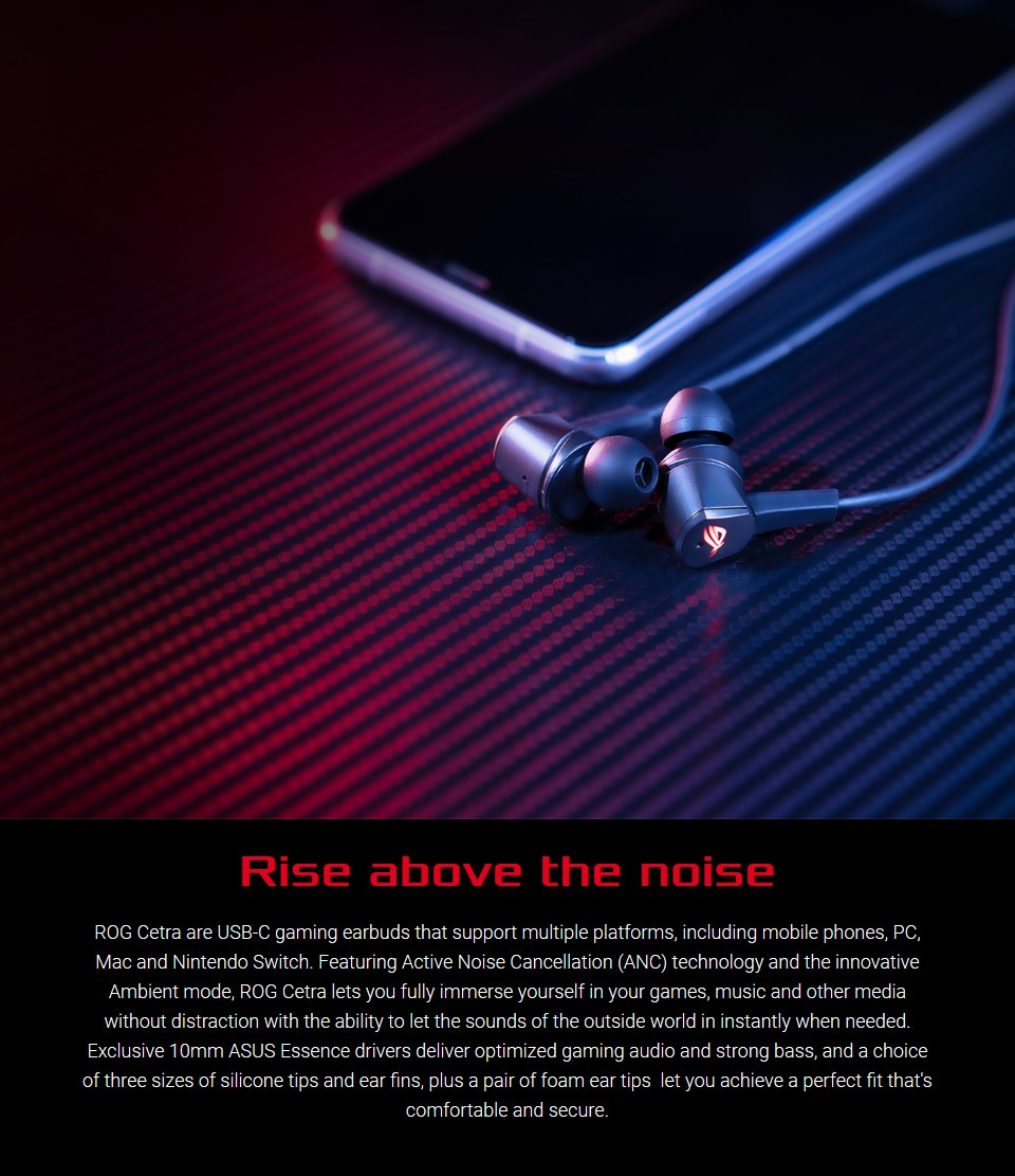 ASUS ROG Cetra In-Ear USB-C Headphones with ANC features