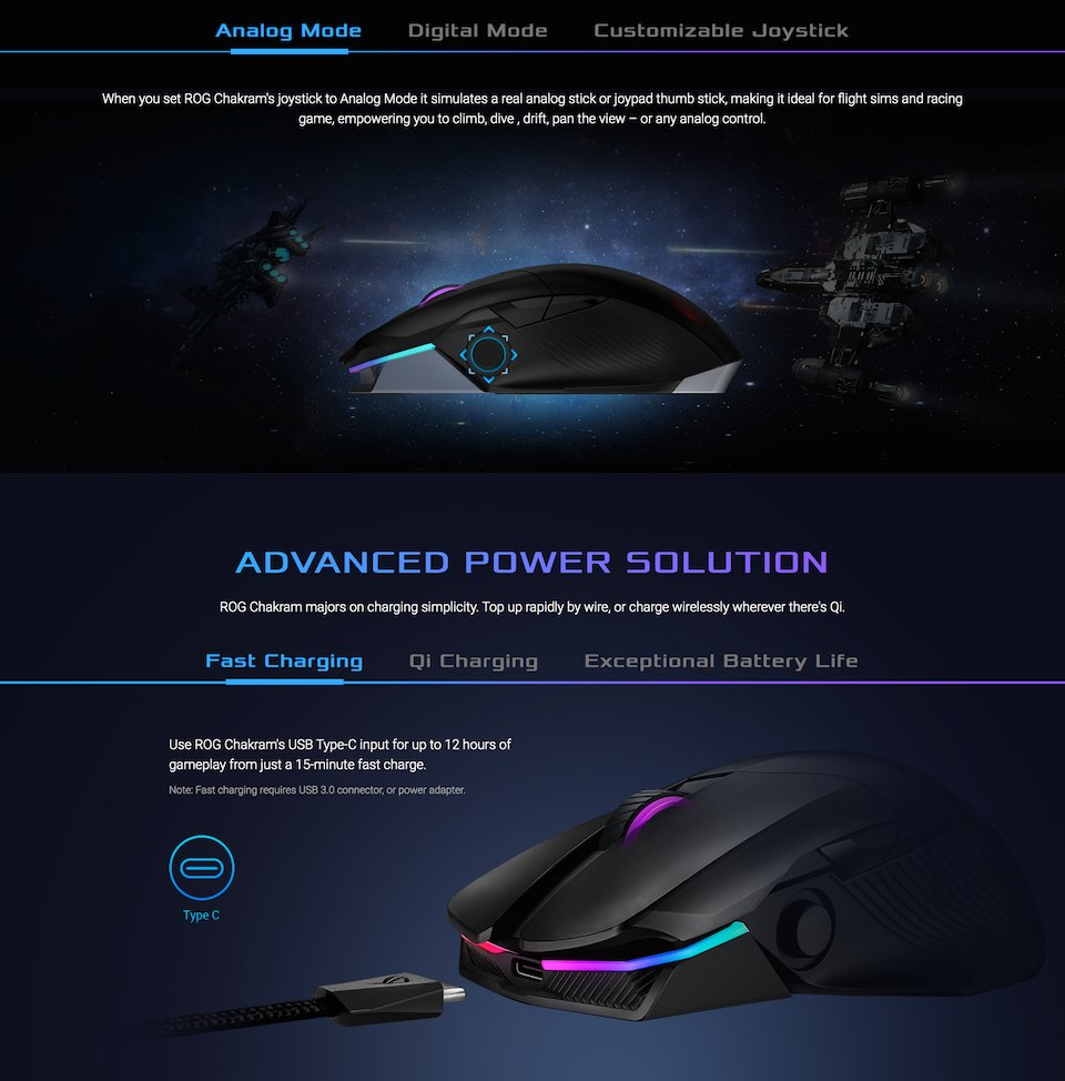 ASUS ROG Chakram Wireless Optical Gaming Mouse features 2