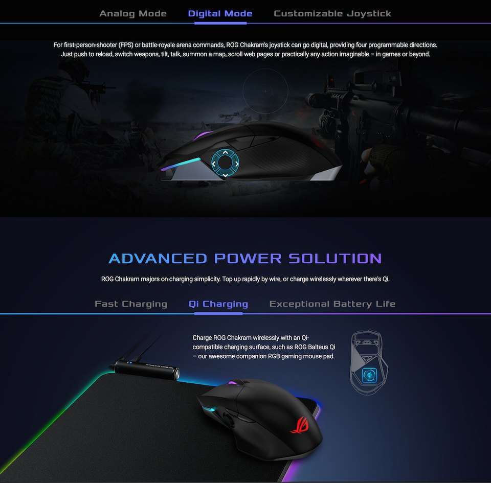 ASUS ROG Chakram Wireless Optical Gaming Mouse features 3