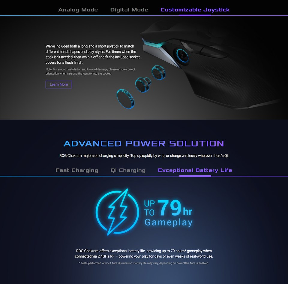 ASUS ROG Chakram Wireless Optical Gaming Mouse features 4