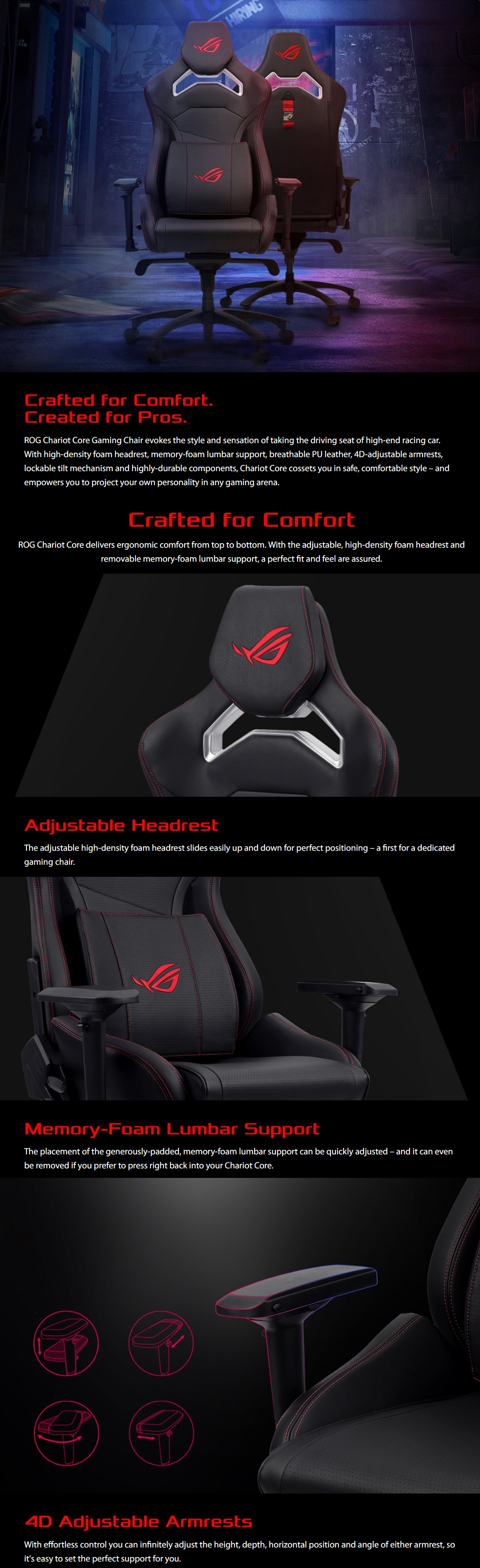 ASUS ROG Chariot Core Gaming Chair features