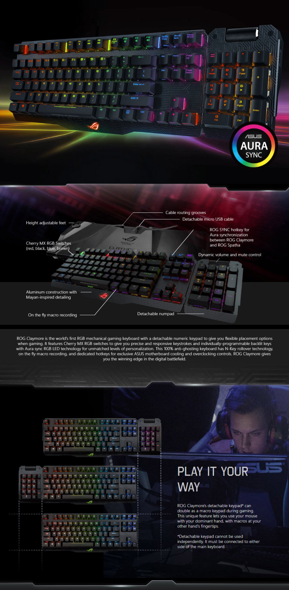 ASUS ROG Claymore RGB Mechanical Keyboard Cherry Blue [ROG