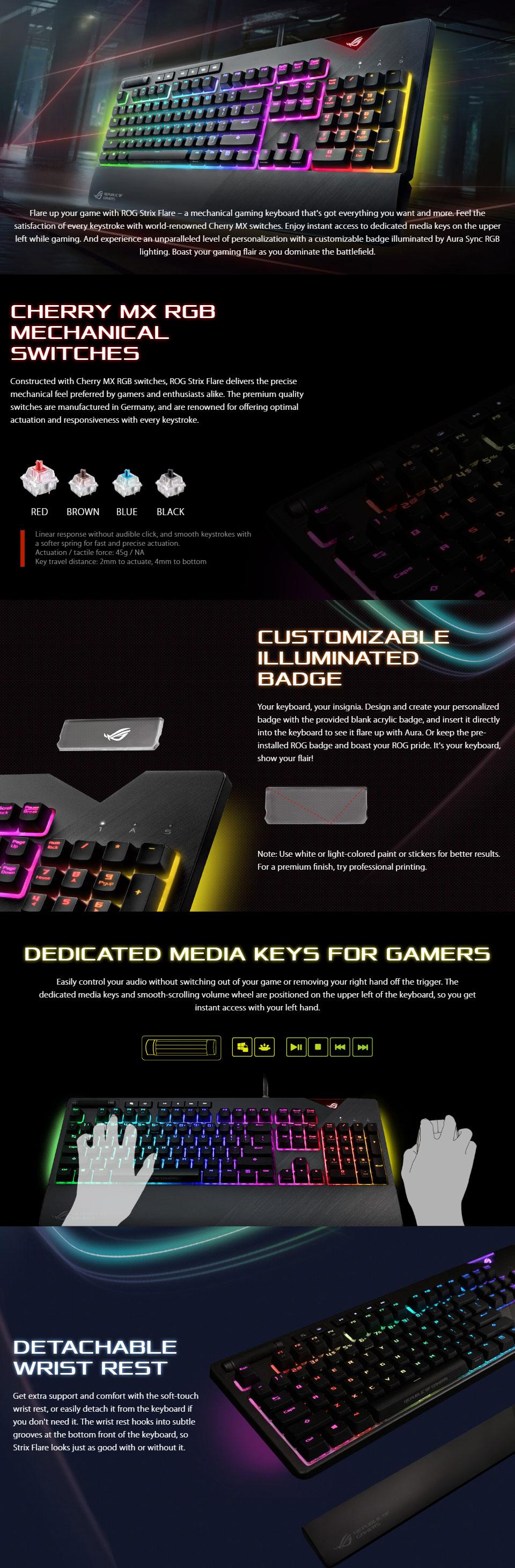Asus ROG Strix Flare RGB Mechanical Gaming Keyboard with Cherry MX RGB  Switches, Customized Illumina