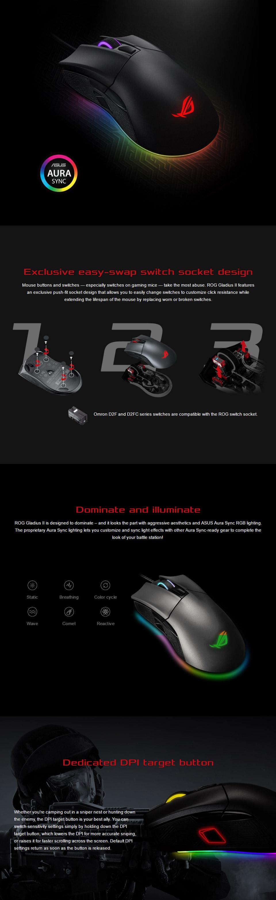ASUS ROG Gladius II RGB Optical Gaming Mouse