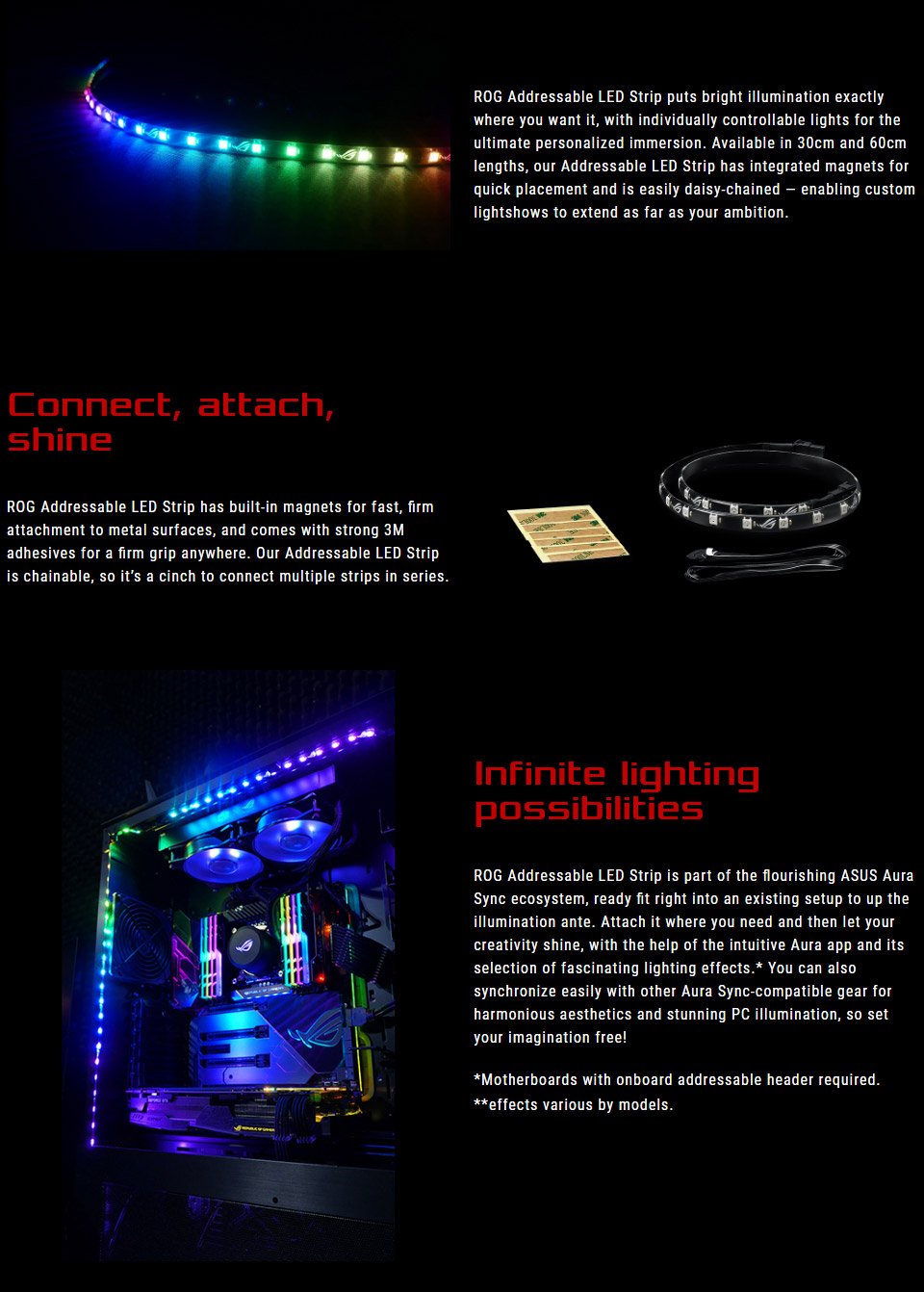 Measuring 60cm in length ASUSu0027 Addressable LED Strip has integrated magnets for quick placement and is easily daisy-chained u2014 enabling custom lightshows to ...  sc 1 st  PC Case Gear & ASUS ROG Addressable RGB Strip 60cm [ROG-LED-STRIP-60CM] : PC Case Gear