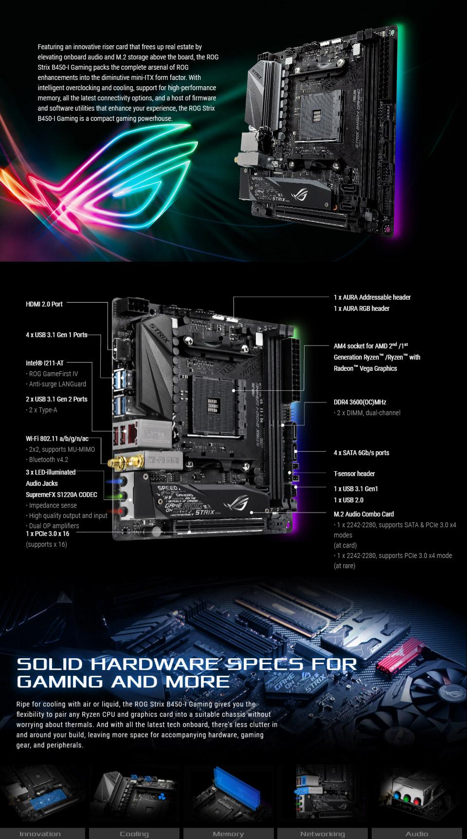 Asus Rog Strix B450 I Gaming Motherboard I8 Keyboard Mini Wearless Pnp Windows Wireless 80211ac Blueooth 42 Hdmi 20b Supremefx 8 Channel High Definition Audio Codec S1220a 5 Way Optimization Aura Sync Rgb Itx