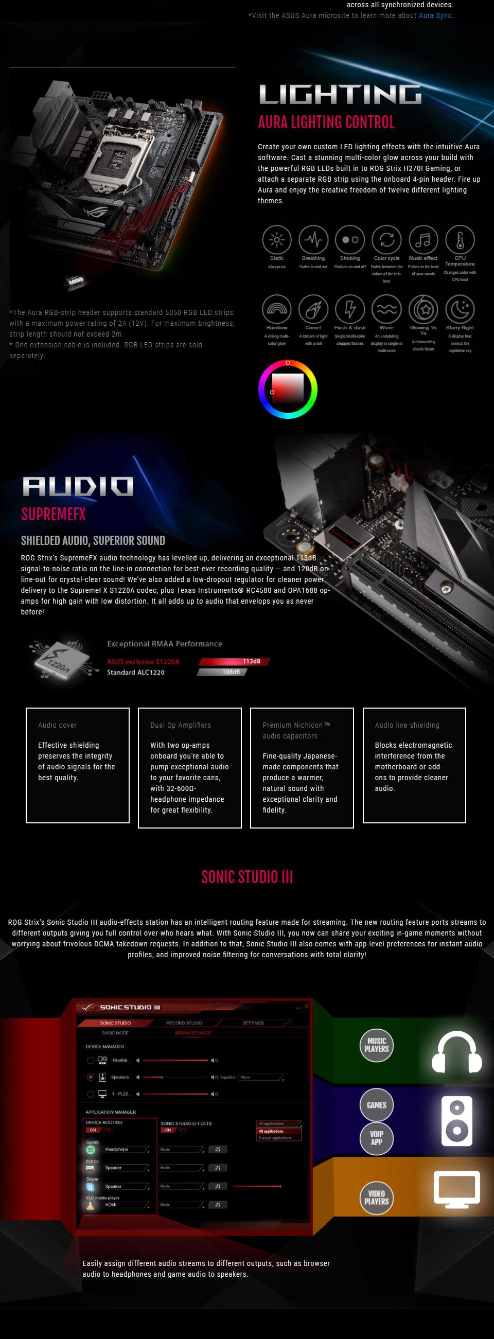 ASUS ROG Strix H270I Gaming ITX Motherboard [ROG-STRIX-H270I-GAMING] : PC Case Gear