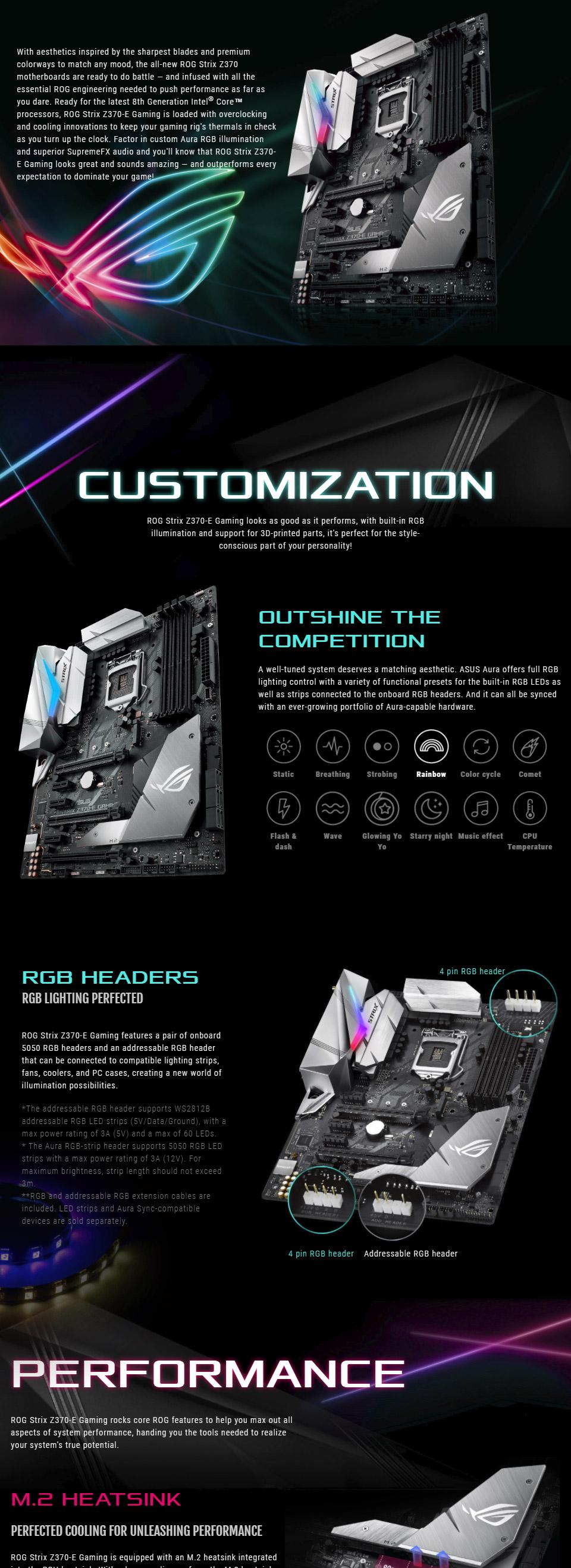 ASUS ROG Strix Z370-E Gaming Motherboard [ROG-STRIX-Z370-E-GAMING