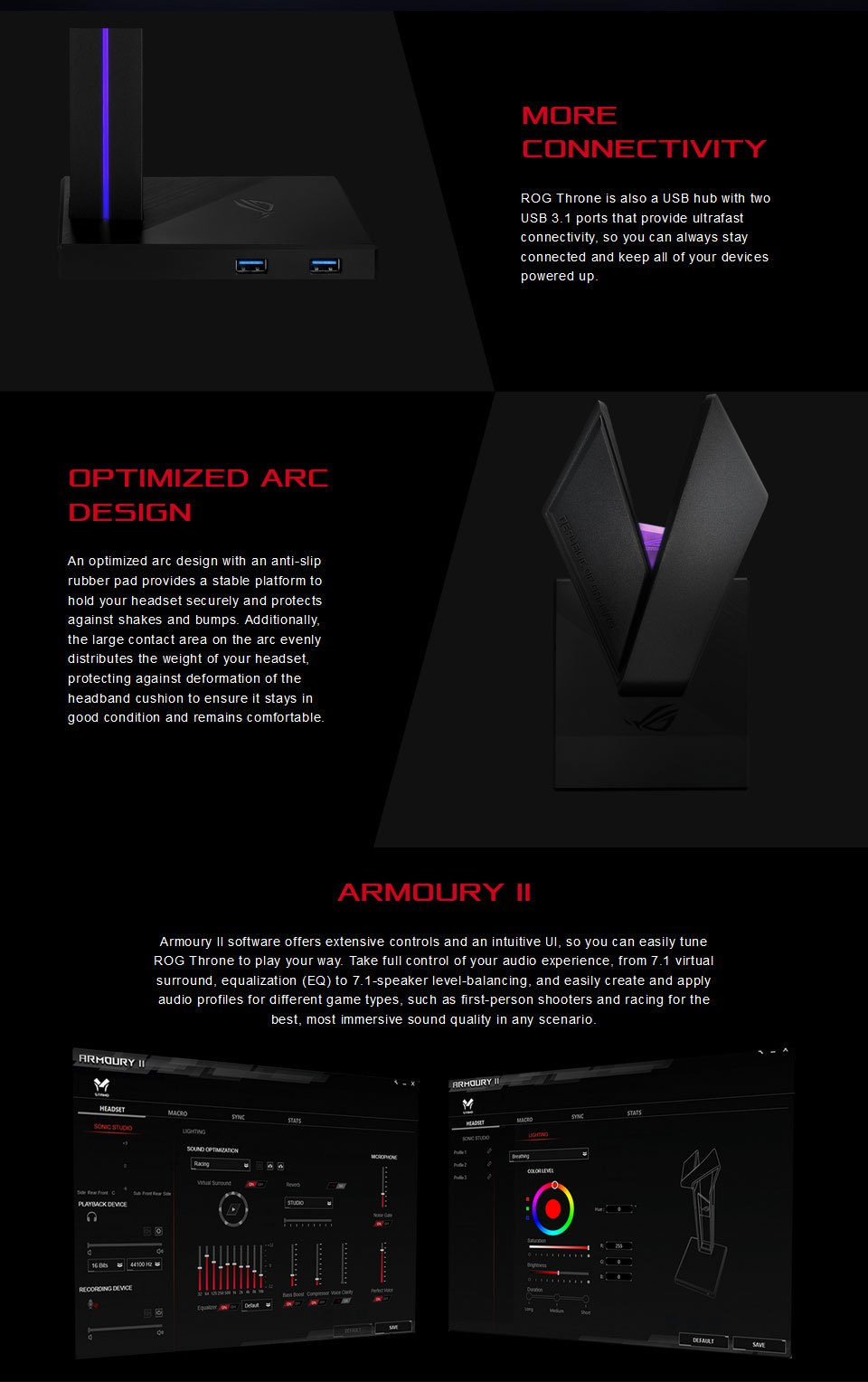 ASUS ROG Throne RGB Headset Stand features 2