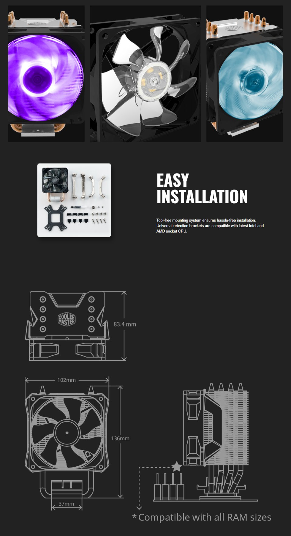 Cooler Master Hyper H411R RGB CPU Cooler features 3