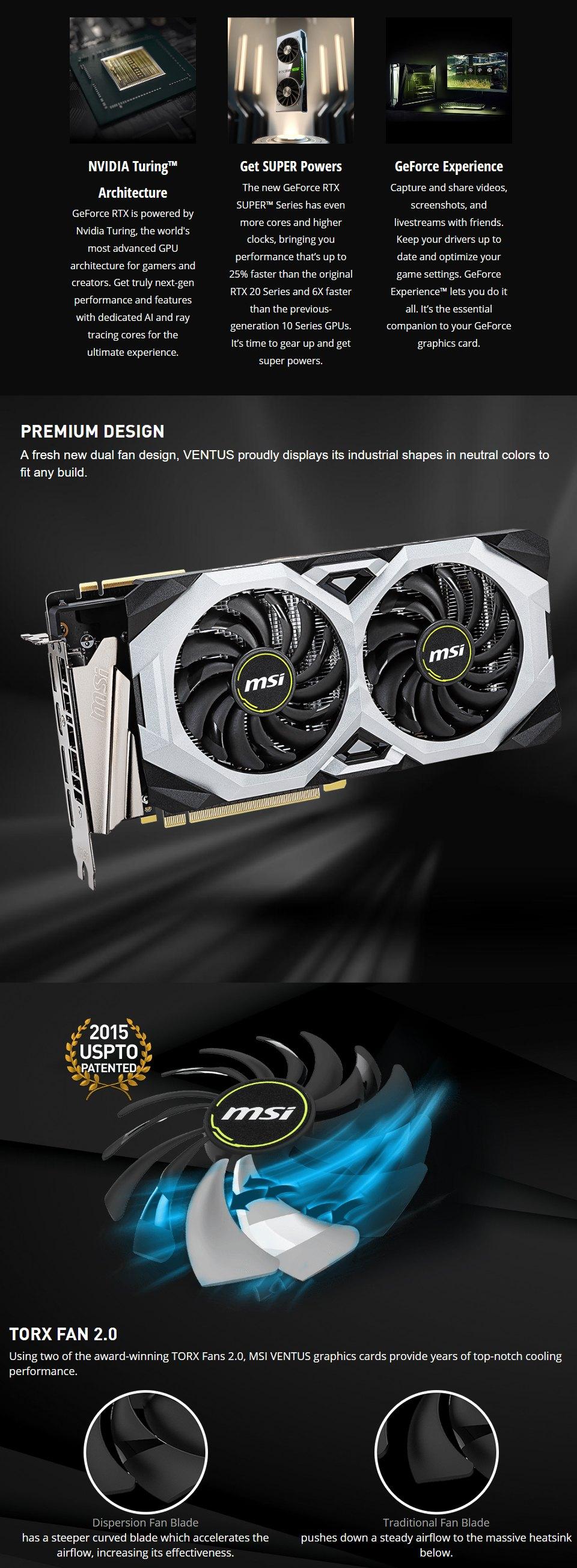 MSI GeForce RTX 2070 Super Ventus GP OC 8GB features