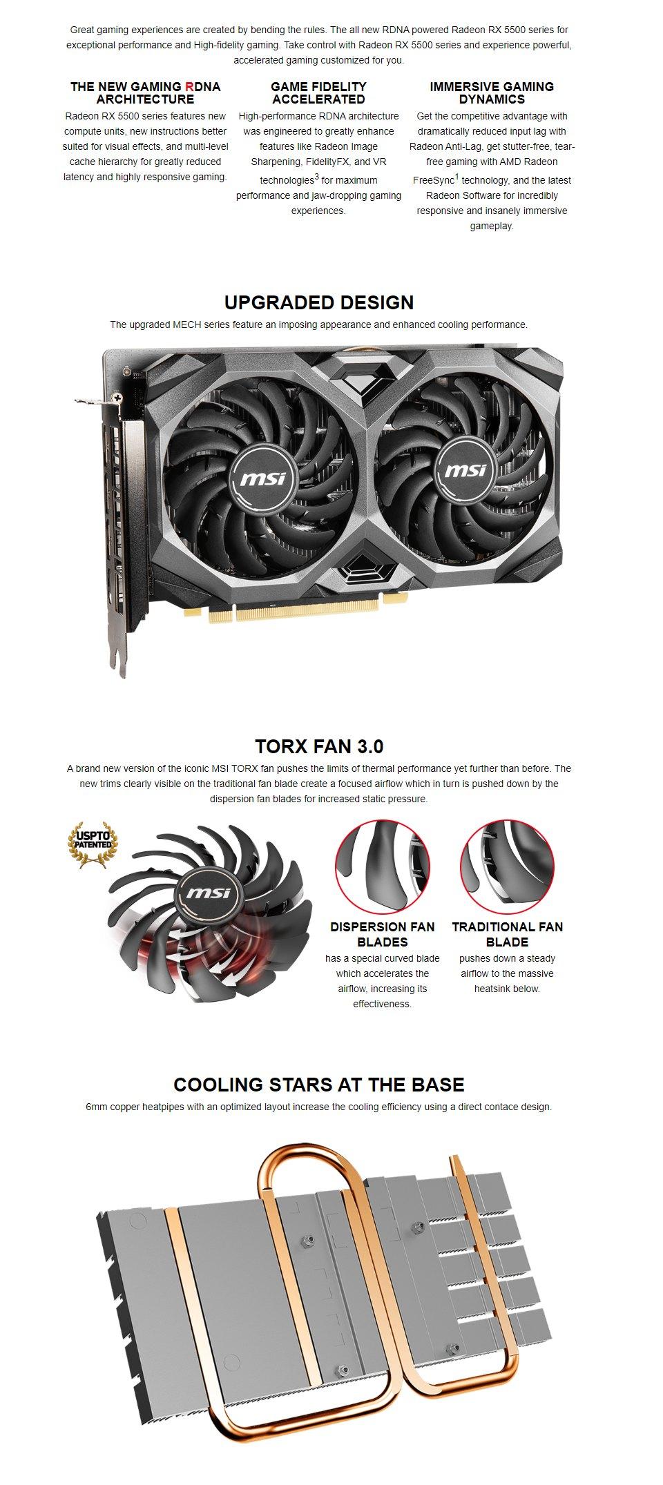 MSI Radeon RX 5500 XT Mech OC 8GB features 2