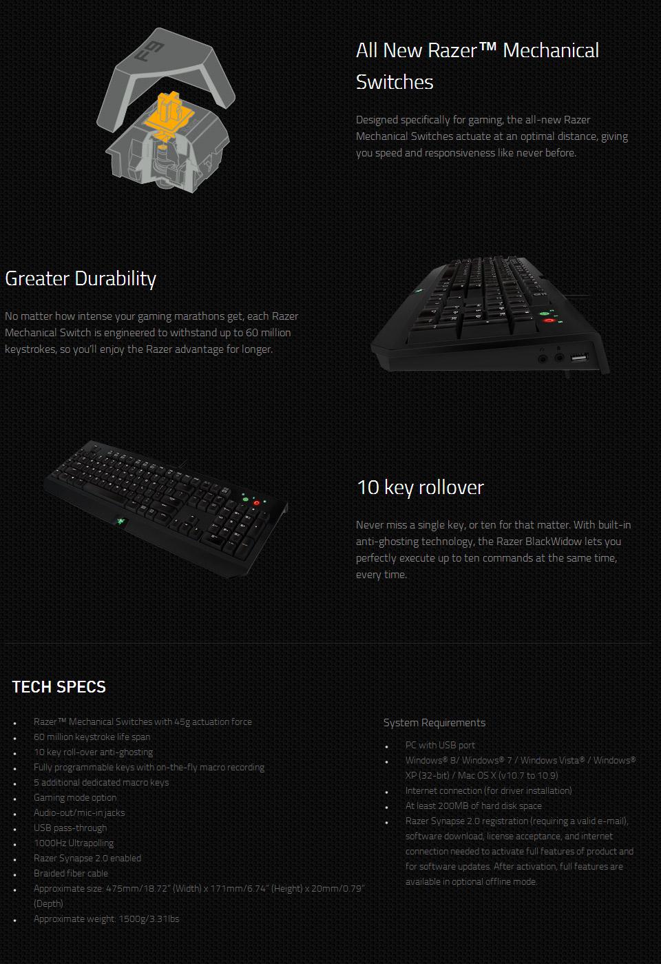 Razer Blackwidow Stealth Mechanical Gaming Keyboard [RZ-BW-EXPERT