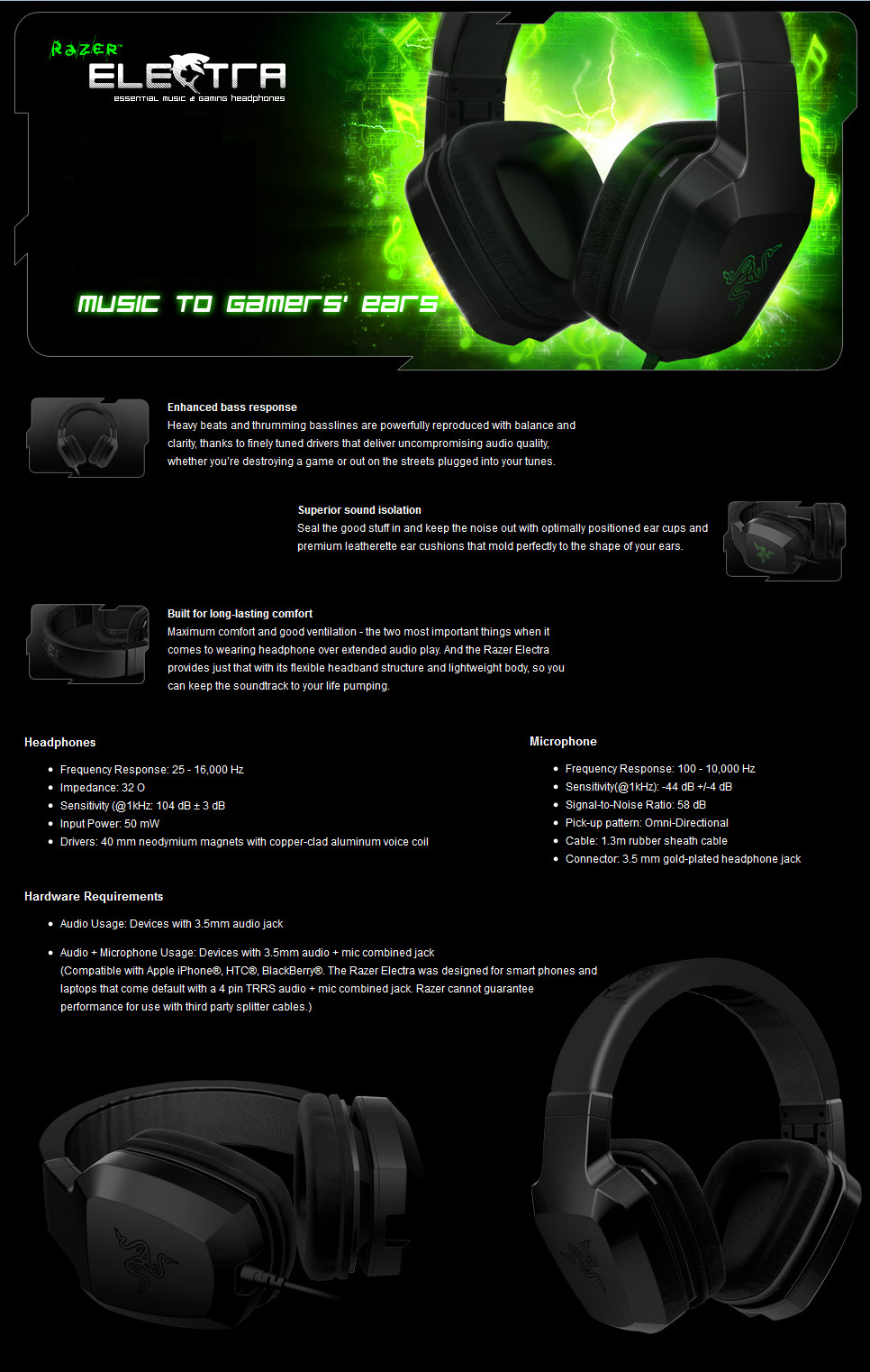 Razer Electra Black Essential Gaming Headset [RZ-ELECTRA-BK] : PC