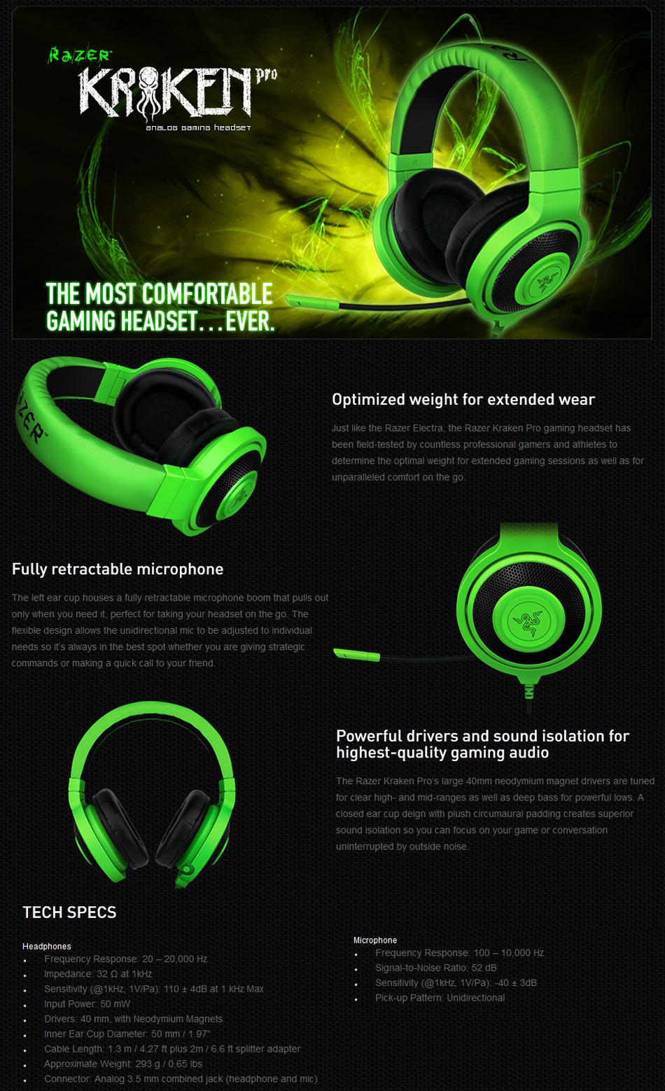 Razer Kraken Pro Analog Gaming Headset Black Rz Bk Pc V2 Case Gear