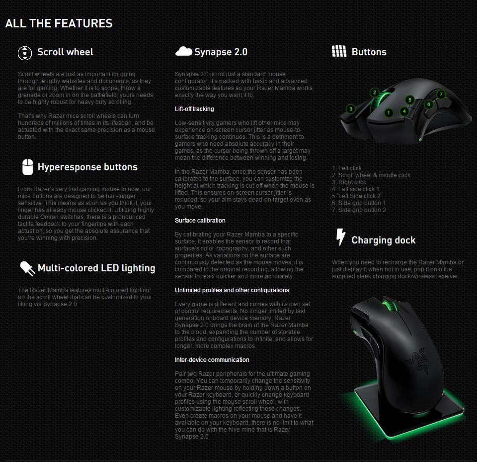 Razer Mamba 4G Dual Laser Gaming Mouse [RZ-MAMBA-4G] : PC