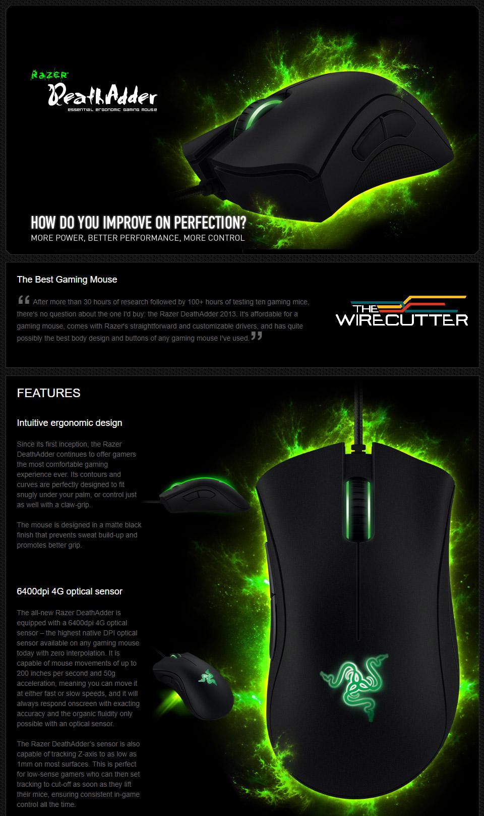 Razer DeathAdder Expert Ergonomic Gaming Mouse [RZ01-00840100] : PC