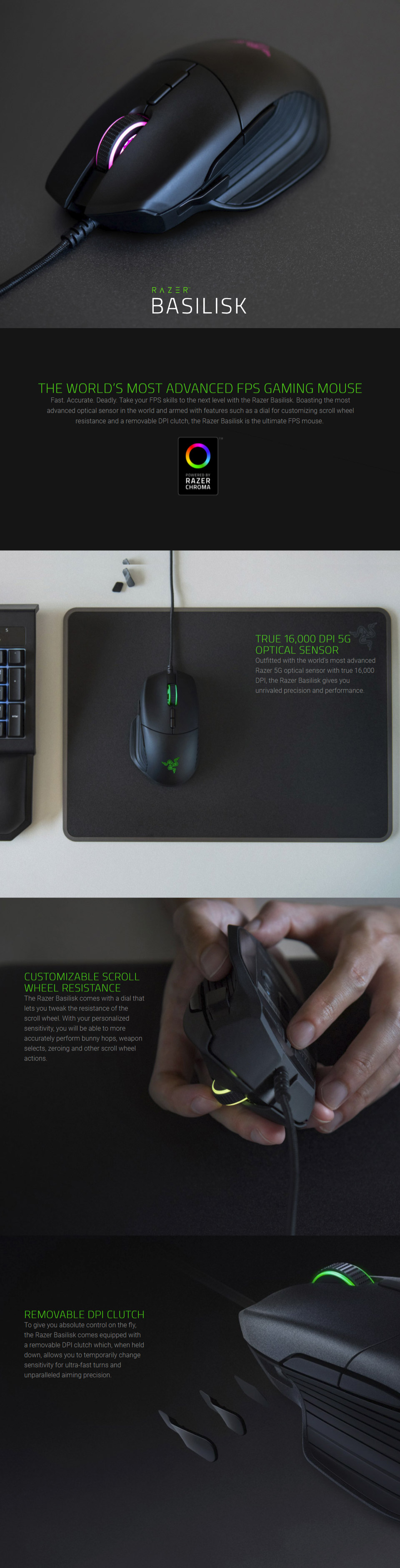 e63a8cd2d2d ... and armed with features such as a dial for customising scroll wheel  resistance and a removable DPI clutch, the Razer Basilisk is the ultimate FPS  mouse.