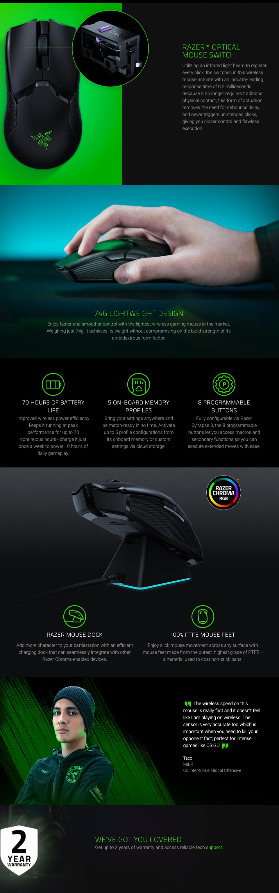 Razer Viper Ultimate Wireless Gaming Mouse with Charging Dock features