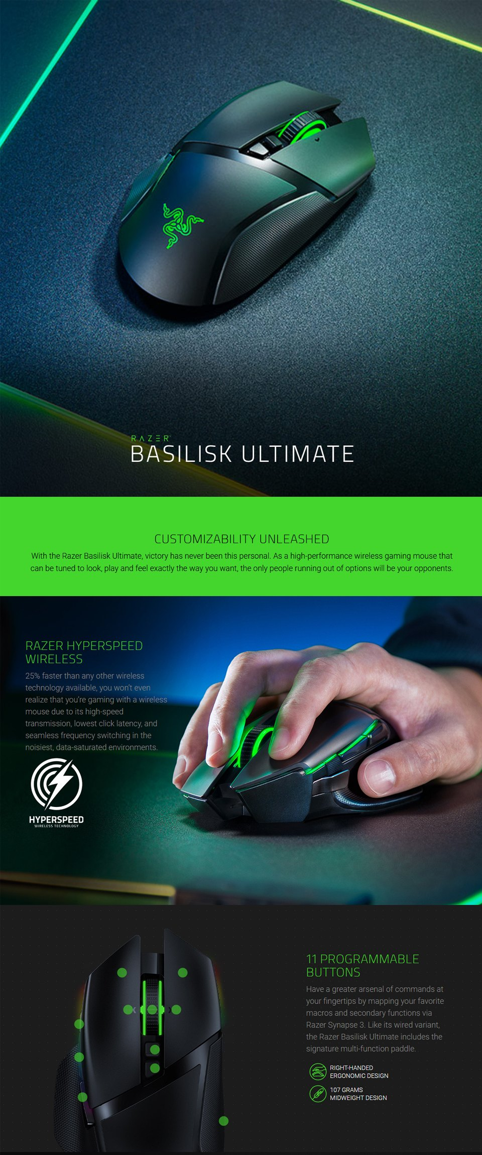 Razer Basilisk Ultimate Wireless Optical Gaming Mouse features