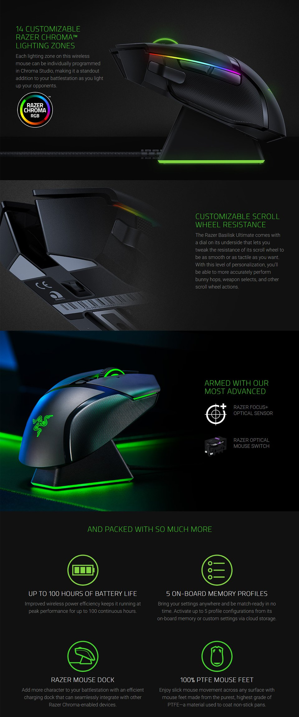 Razer Basilisk Ultimate Wireless Optical Gaming Mouse features 2