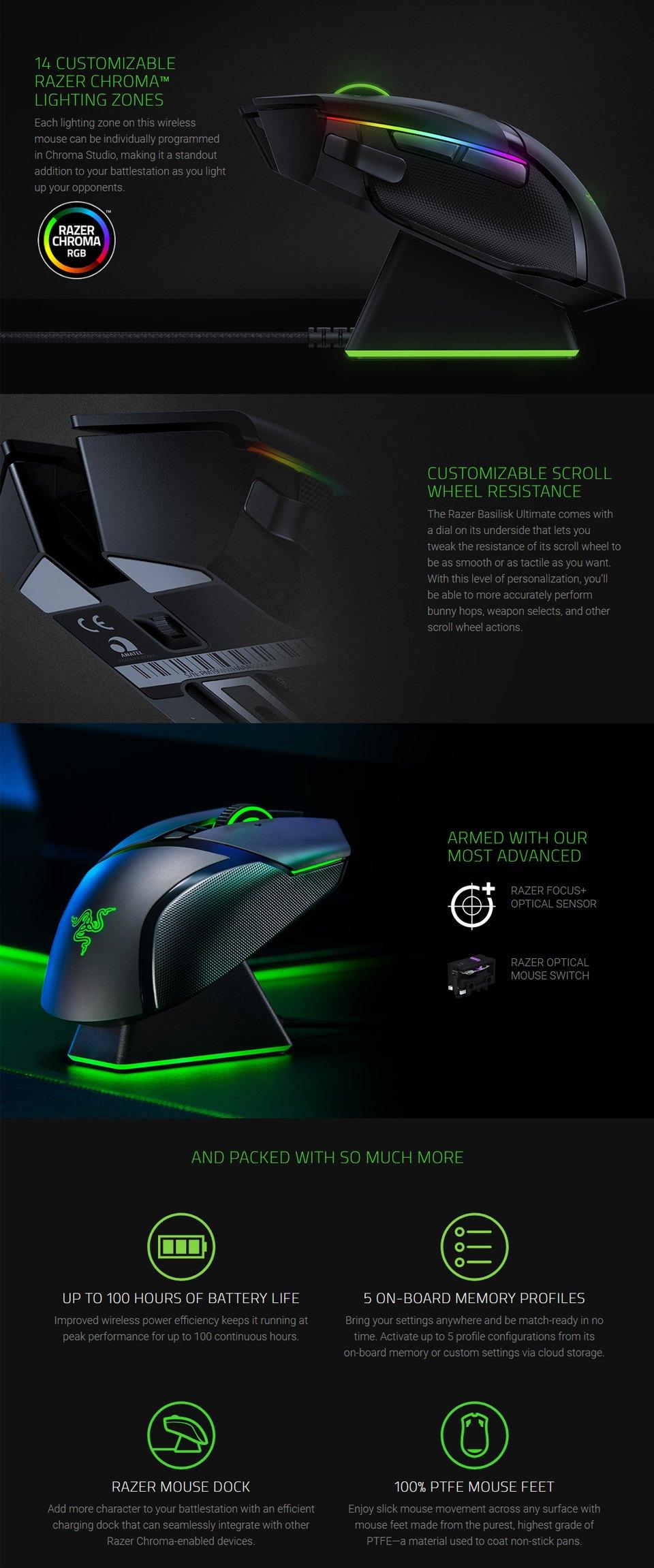 Razer Basilisk Ultimate Wireless Optical Gaming Mouse features 2