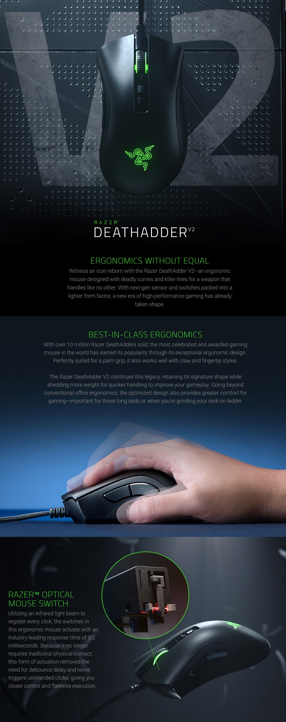 Razer DeathAdder V2 Optical Gaming Mouse features